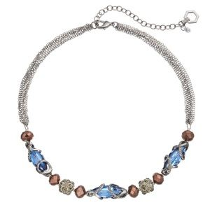NWT Simply Vera Vera Wang Jeweled Necklace Blue